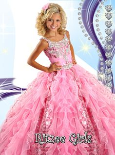 You can never go wrong dressing your little diva in a white junior pageant dress! The Ritzee girls pageant gown 6454 is a unique children's dress with a tank style bodice with beaded straps, and embellished bodice with rushed waistline, and a ruffled organza skirt that also shows off a sequined pattern. This floor length pageant dress is sure to sparkle!