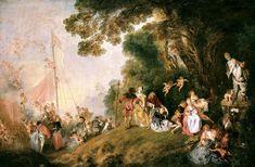 L'Embarquement pour Cythère de Watteau, vers 1718.