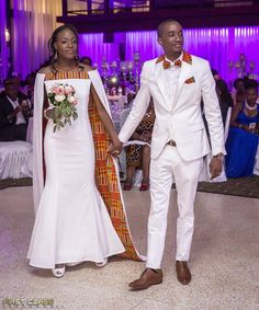 African wedding outfits, African wedding suits, African groom's suit, African bride's dress, African - Modern African Wedding Attire, African Attire, African Wear, African Women, African Dress, African Print Wedding Dress, Wedding Suits, Wedding Dresses, African Traditional Wedding