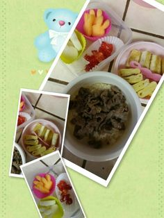 Korean style lunch: bulgogi, fried egg and tofu with rice, fruits and jelly