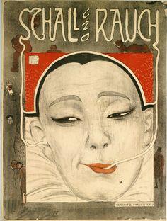"""1901: la locandina dello """"Schall und Rauch"""" di Berlino, seminale cabaret che metteva in scena satira politica e parodia letteraria. #cabaret #kabarett #pierrot #poster"""