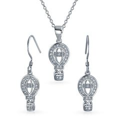 Bling Jewelry 925 Silver Clear CZ Hot Air Balloon Necklace Earring Set