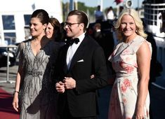 Crown Princess Victoria of Sweden and her husband Prince Daniel of Sweden and Princess Mette-Marit of Norway arrive for the Pre-Wedding Dinner for Prince Carl Philip and Sofia Hellqvist on June 2015 in Stockholm, Sweden.