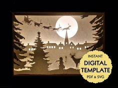 Template Christmas Village Paper Cut File Silhouette Light | Etsy Shadow Box Art, Shadow Box Frames, Christmas Shadow Boxes, Christmas Lights, Christmas Ornaments, Christmas Templates, Frame Template, Light And Shadow, Real Superman