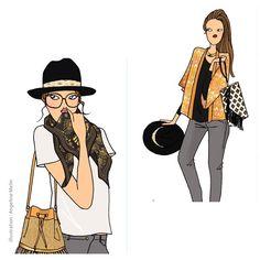 #maradji @maradji.comptoir.des.textiles #illustration #nouveaucreateur #sac #foulard #chapeau #angelinemelin #illustration www.maradji.fr