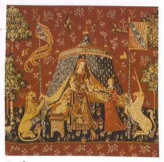 "19"" Lady & UNICORN ~Sense of Desire~ Medieval Tapestry Pillow Cushion Cover"