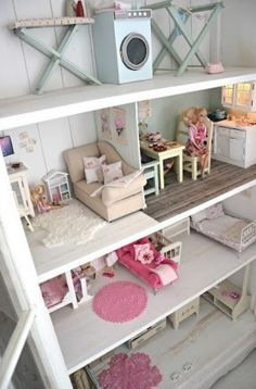 Gorgeous doll house constructed on a bookcase. Includes 4 floors with charming furniture. Perfect