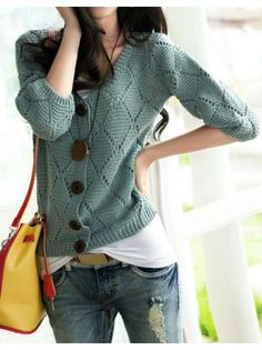 3/4 Sleeved Button Geo Cardigan - love the color and that it's a knit!