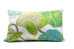 Leaf pillow, blue pillow, lumbar pillow, Robert Allen tropic scene capri, aqua cushion cover on Etsy, $36.00 CAD