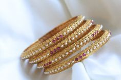 Antique Gold Pearl Bangle Set