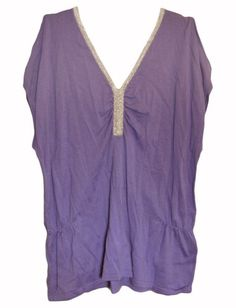 August Silk Knit Blouse Shirt Open Shoulder Purple Silver Large -- You can get more details by clicking on the image.