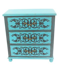 Another great find on #zulily! Peacock Blue Scrollwork Four-Drawer Cabinet #zulilyfinds