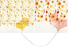 bed drawing : beds in poppyland, 2007, watercolor, acrylic, and thread/embroidery on duralar, 8 x 18 inches