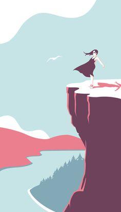 The girl by the lake on Behance Paris Illustration, Graphic Design Illustration, Deco Studio, Affinity Designer, Aesthetic Painting, Unique Wallpaper, Guache, Posca, Grafik Design