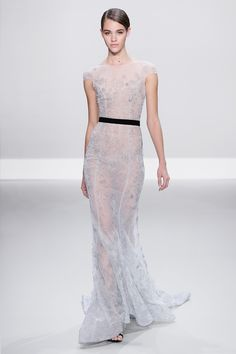 Pale silver tulle embellished gown with black silk velvet bow belt. | Ralph & Russo S/S 2014