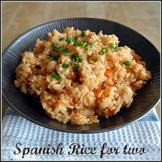 Spanish Rice For Two ~ My husband and I love Mexican food. Spanish rice is a must. My man likes to make a rice bowl with all the homemade ingredients I give him. This is an easy recipe for that traditional rice you get at restaurants. Homemade is better of course!