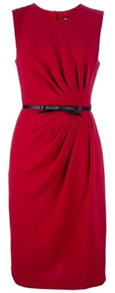 Red Ruched Dress+ Black Belt. This bold color choice is sure to help you stand out from the crowd! Paired with some simple black accessories and a blazer, a ruched sheath dress is a shoe in for professional success.