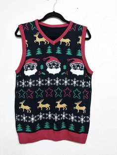 santa claus ugly sweater vest. mens ugly vest. by june22nd on Etsy