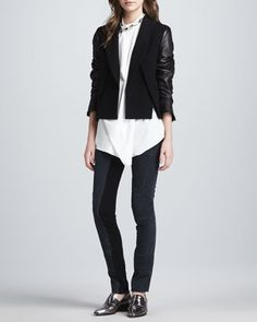 Cross-Front Leather-Sleeve Jacket, Asymmetric Draped Beaded Silk Tank & Ponte-Insert Corded Pants by 3.1 Phillip Lim at Neiman Marcus.