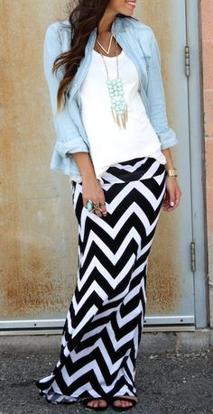 Black and white striped maxi chevron skirt
