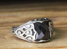 Mens Pinky Ring Black Quartz Gemstone 925k Sterling Silver Ring 9.5 US size