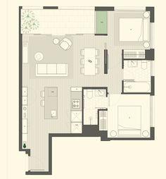 Apartment Layout, Apartment Plans, Apartment Interior, Home Design Plans, Plan Design, Small House Plans, House Floor Plans, Single Apartment, Architectural Floor Plans