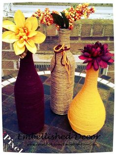 Yarn Wrapped Wine Bottles Set of 3 Burlap Jute Burgundy Mustard Home Decor Vase by lorrie