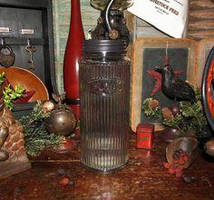 Primitive Antique Vtg Style Hoosier Ribbed Glass Flour Jar w/ Metal Lid Canister #NaivePrimitive