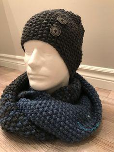 8f829557d817 Ensemble foulard infini et bonnet pour homme 100% par EmmaHDesign Bonnet  Homme Tricot, Snood