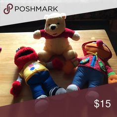Talking pooh Talking Elmo and dress me Ernie Pooh and Elmo talk and Ernie has buttons and zippers and such. Disney Other
