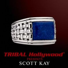 BLUE LAPIS STONE Woven Sterling Silver Mens Ring by Scott Kay