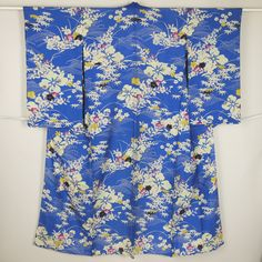 Blue, flower pattern, summer houmongi kimono /【訪問着】リサイクル着物/ブルー系 流水秋の草花柄 絽 単衣 夏物