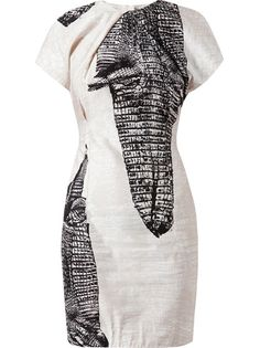 ACNE Crocodile Printed Linen-Blend Dress
