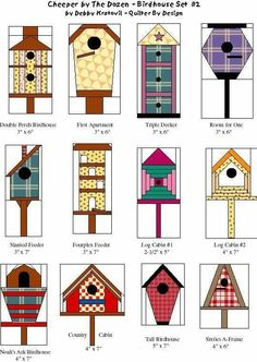 Bird house Quilt Patterns- 'Cheeper by the Dozen Birdhouse Set by Debby Kratovil- Quilter By Design House Quilt Patterns, Paper Pieced Quilt Patterns, Patchwork Quilting, Quilt Block Patterns, Applique Quilts, Pattern Blocks, Paper Patterns, Bird Quilt Blocks, House Quilt Block
