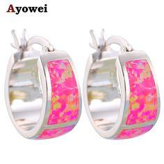 Great Buy $6.90, Buy Purple Fire Opal stamp Silver Hoop Earrings Summer style Round earrings for women Fashion Opal Jewelry OE360A
