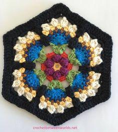 Crochet between worlds: Frida's Flowers CAL - Block 3 - Bird of Paradise: FREE pattern Mandala Au Crochet, Crochet Diy, Crochet Motifs, Love Crochet, Crochet Crafts, Crochet Flowers, Crochet Projects, Crochet Stitches, Motifs Granny Square