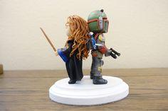 Ravenclaw girl and Boba Fett Wedding Cake Topper. Harry Potter & Star Wars Cake Topper by PlayCraft on Etsy https://www.etsy.com/listing/475740619/ravenclaw-girl-and-boba-fett-wedding