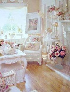 Shabby Chic. A little too busy for e, but, I love some of the elements in this room.