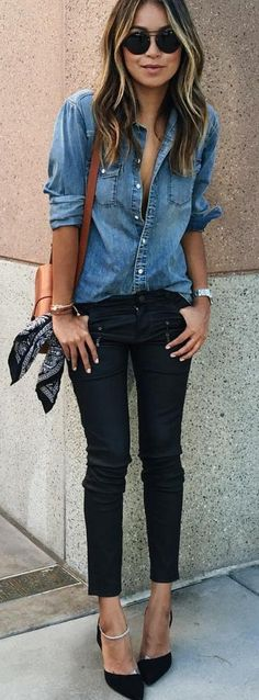 #sincerelyjules #spring #summer #besties | Blue Denim + Black Denim