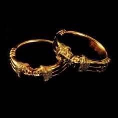 Gold bracelets from a tomb at the ancient city of Nimrud, in Iraq. Nimrud was the capital of Ashurnasirpal II, an Assyrian king of the 9th century BC.