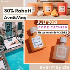 AVA and MAY Code Juli 2021 30% - 50% Rabatt sichern Gutscheincode CATHI30 Natural Mojo, Hello Body, Influencer, Sicily, Ava, Coding, Instagram, Fitness, Gift Cards