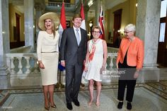 Queen Maxima and King Willem-Alexander of The Netherlands, Premier of Ontario Kathleen Wynne and Jane Rounthwaite pose at Queen's Park during state visit to Canada on May 29, 2015 in Toronto, Canada.