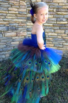 Peacock Tutu Costume Pageant Party Portrait Dress with real Peacock Feathers Long Layers and Hair Piece Christmas Gift on Etsy, $155.00