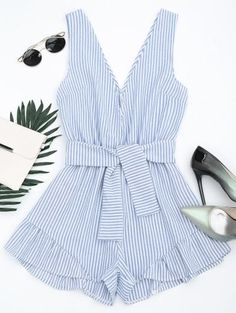 Plunging Neck Belted Striped Romper - Blue Stripe - Blue Stripe S Rompers For Teens, Cute Rompers, Rompers Women, Jumpsuits For Women, Trendy Fashion, Fashion Outfits, Womens Fashion, Cute Summer Outfits, Cute Outfits