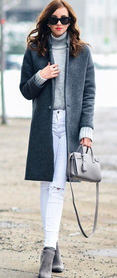 amazing fall outfit : coat + grey sweater + bag + rips + boots