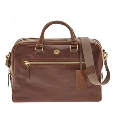 The Bridge Story Uomo collection Leather Top Zip Briefcase in Brown