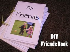 DIY friendship books I may try a variation of this in my new kinder room this year if there is time. I was thinking of taking tons of pictures with my iphone throughout the first week or so. Then print off lots of them and let the kids pick through and m Preschool Friendship, Friendship Activities, Name Activities, Toddler Activities, Preschool Literacy, Preschool Books, Preschool Lessons, Kindergarten, All About Me Preschool