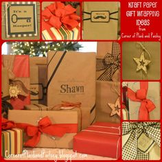 Corner of Plaid and Paisley: Kraft Paper Christmas Gift Wrapping Ideas