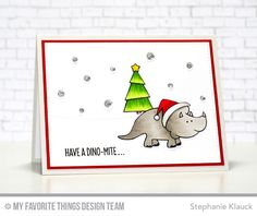 Handmade card from Stephanie Klauck featuring Hand Lettered Holiday, You're Rawr-some, and Birdie Brown Jingle All the Way and Santa's Elves stamp sets, and Stitched Snow Drifts, Pop-Up Elements Wide, and Blueprints 29 Die-namics #mftstamps