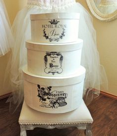 """10"""" Round French Nordic Hat Box Hatbox Vintage Inspired Storage Hotel Royal Paris French Text"""
